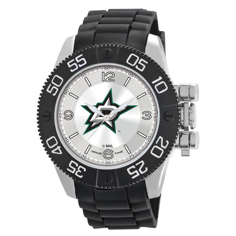 Dallas Stars Mens Quartz Analog Silver Round Case Black Strap 48Mm Beast