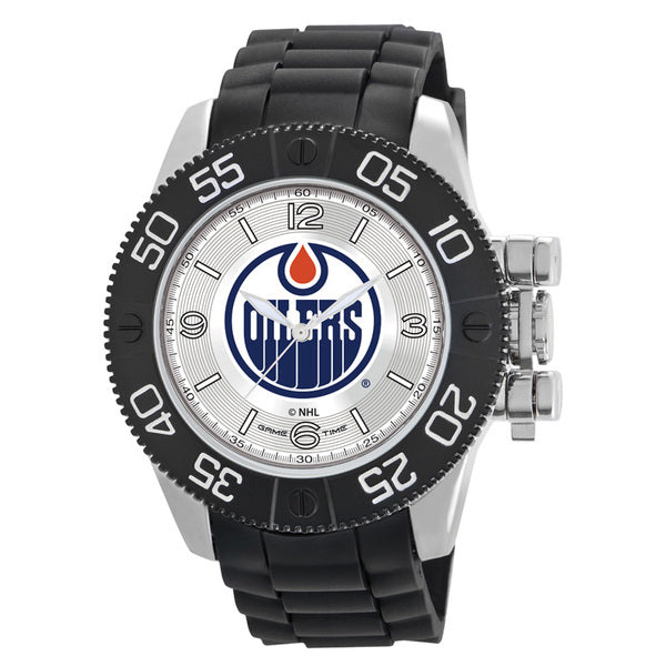 Edmonton Oilers Mens Quartz Analog Watch With Silver Round Case Black Strap 48Mm Beast