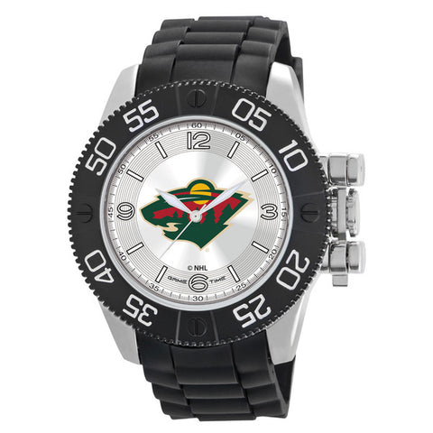 Minnesota Wild Mens Quartz Analog Silver Round Case Black Strap 48Mm Beast