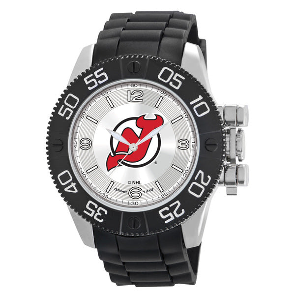 New Jersey Devils Mens Quartz Analog Watch With Silver Round Case Black Strap 48Mm Beast
