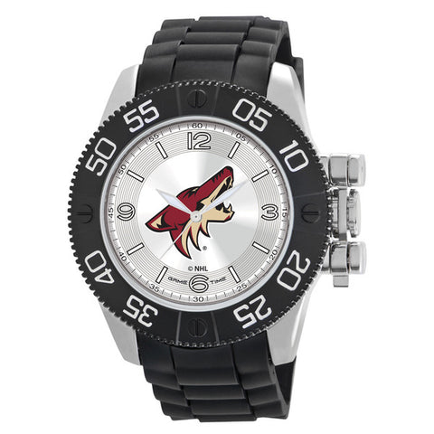 Arizona Coyotes Mens Quartz Analog Silver Round Case Black Strap 48Mm Beast