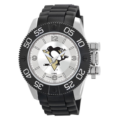 Pittsburgh Penguins Mens Quartz Analog Silver Round Case Black Strap 48Mm Beast