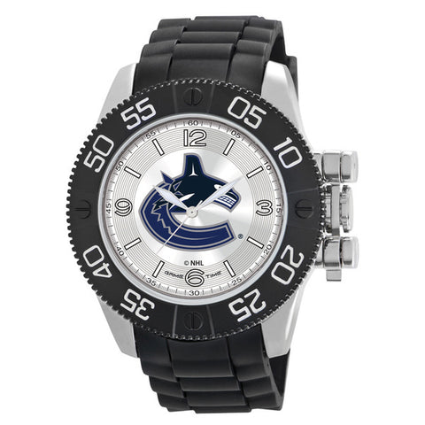 Vancouver Canucks Mens Quartz Analog Silver Round Case Black Strap 48Mm Beast