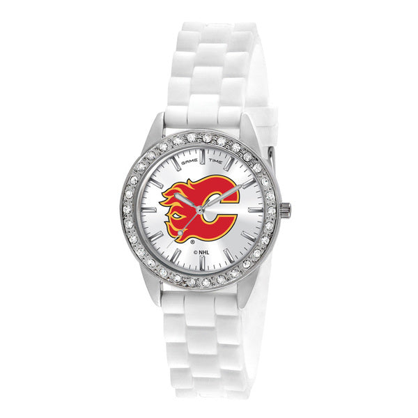 Calgary Flames Ladies Quartz Analog Watch With Silver Round Case White Strap 38Mm Frost