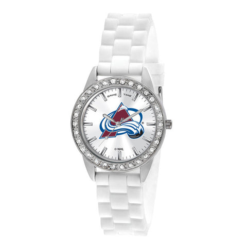 Colorado Avalanche Ladies Quartz Analog Silver Round Case White Strap 38Mm Frost