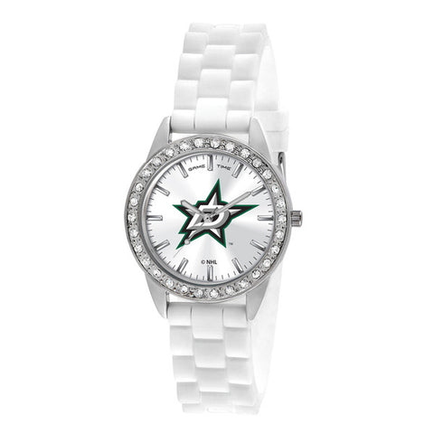 Dallas Stars Ladies Quartz Analog Watch With Silver Round Case White Strap 38Mm Frost