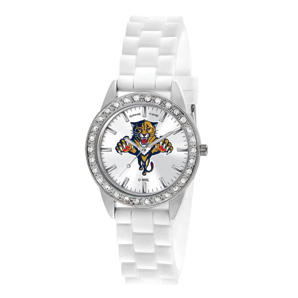 Florida Panthers Ladies Quartz Analog Watch With Silver Round Case White Strap 38Mm Frost