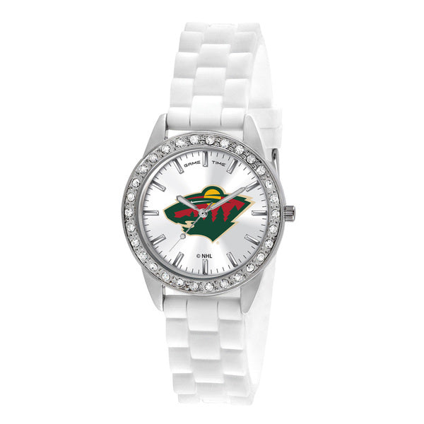 Minnesota Wild Ladies Quartz Analog Watch With Silver Round Case White Strap 38Mm Frost