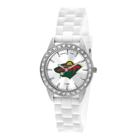 Minnesota Wild Ladies Quartz Analog Silver Round Case White Strap 38Mm Frost
