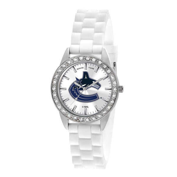 Vancouver Canucks Ladies Quartz Analog Watch With Silver Round Case White Strap 38Mm Frost