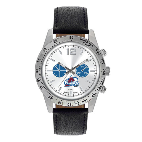 Colorado Avalanche Mens Quartz Analog Silver Round Case Black Strap 44Mm Letterman
