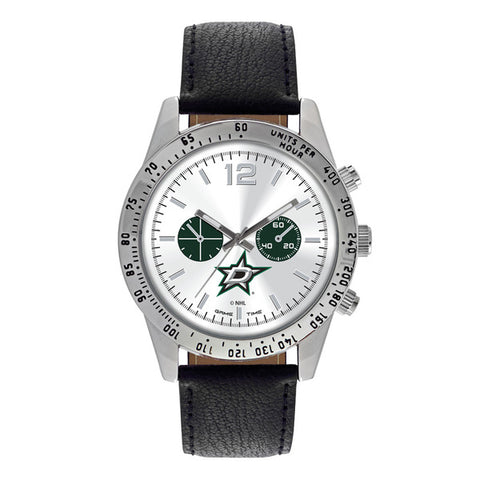 Dallas Stars Mens Quartz Analog Silver Round Case Black Strap 44Mm Letterman