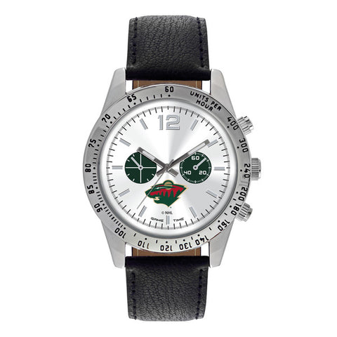Minnesota Wild Mens Quartz Analog Silver Round Case Black Strap 44Mm Letterman
