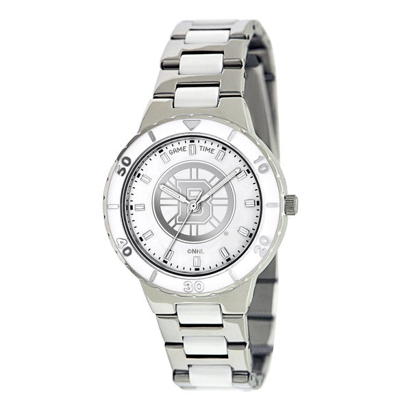 Boston Bruins Ladies Quartz Analog Watch With Silver Round Case Silver Bracelet 35.9Mm Pearl
