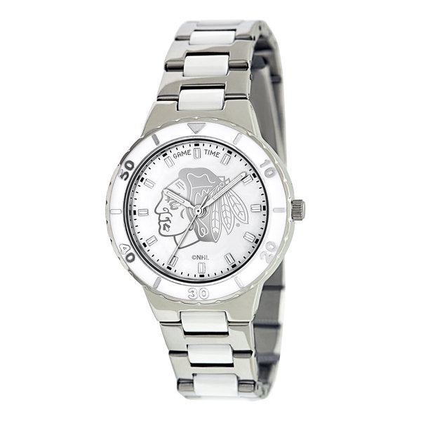 Chicago Blackhawks Ladies Quartz Analog Watch With Silver Round Case Silver Bracelet 35.9Mm Pearl