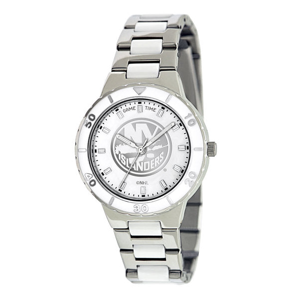 New York Islanders Ladies Quartz Analog Watch With Silver Round Case Silver Bracelet 35.9Mm Pearl