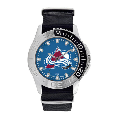 Colorado Avalanche Mens Quartz Analog Silver Round Case Black Strap 42Mm Starter