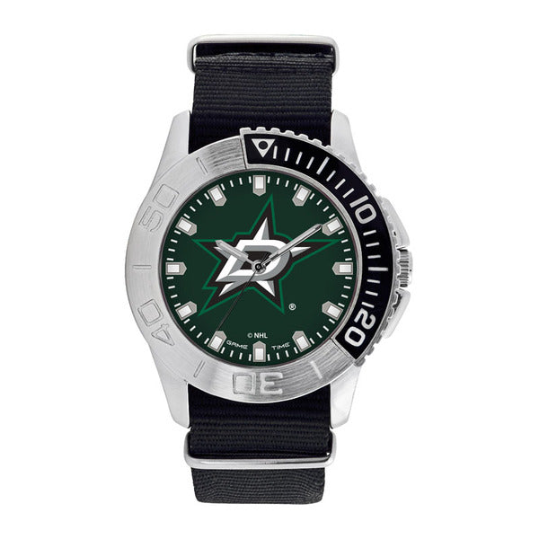 Dallas Stars Mens Quartz Analog Watch With Silver Round Case Black Strap 42Mm Starter