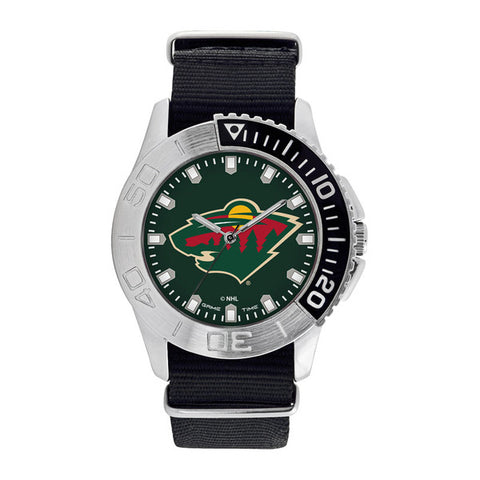 Minnesota Wild Mens Quartz Analog Silver Round Case Black Strap 42Mm Starter