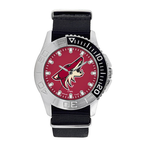 Arizona Coyotes Mens Quartz Analog Silver Round Case Black Strap 42Mm Starter