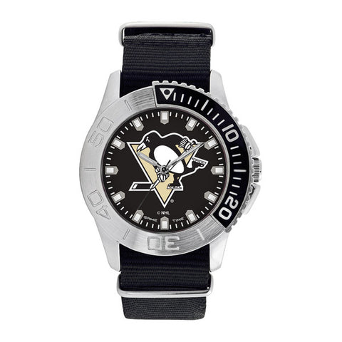 Pittsburgh Penguins Mens Quartz Analog Silver Round Case Black Strap 42Mm Starter