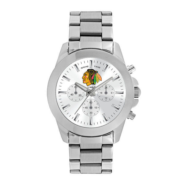 Chicago Blackhawks Ladies Quartz Analog Watch With Silver Round Case Silver Bracelet 39Mm Knockout