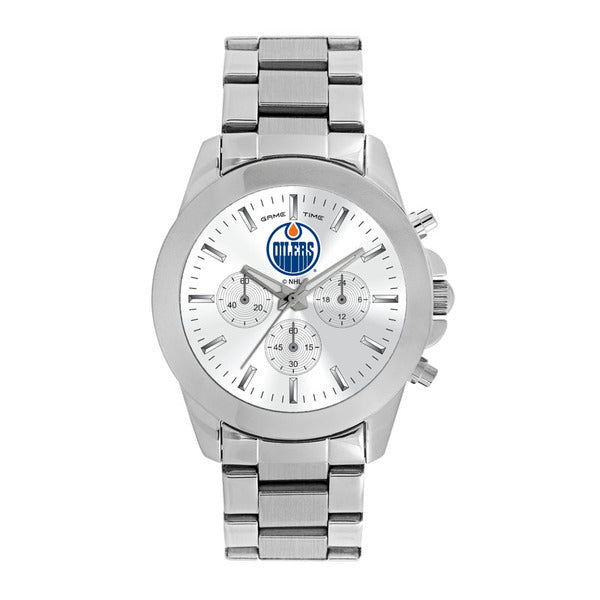 Edmonton Oilers Ladies Quartz Analog Watch With Silver Round Case Silver Bracelet 39Mm Knockout