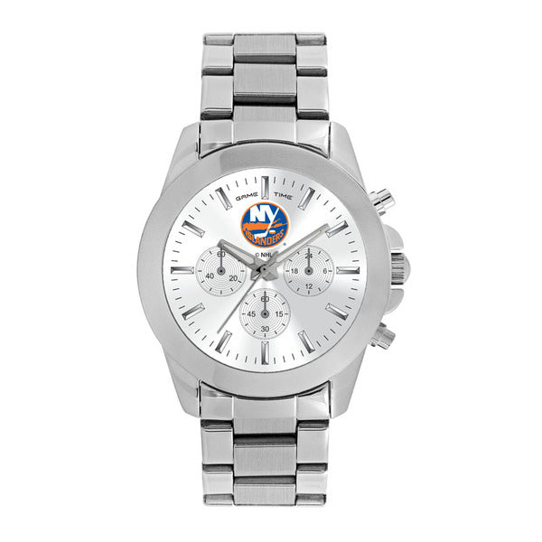 New York Islanders Ladies Quartz Analog Watch With Silver Round Case Silver Bracelet 39Mm Knockout