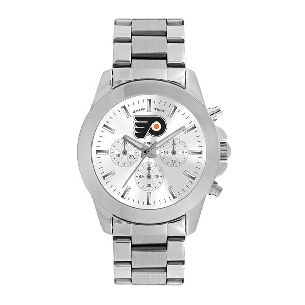 Philadelphia Flyers Ladies Quartz Analog Watch With Silver Round Case Silver Bracelet 39Mm Knockout