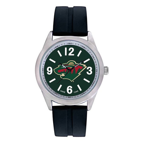 Minnesota Wild Mens Quartz Analog Silver Round Case Black Strap 46.5Mm Varsity