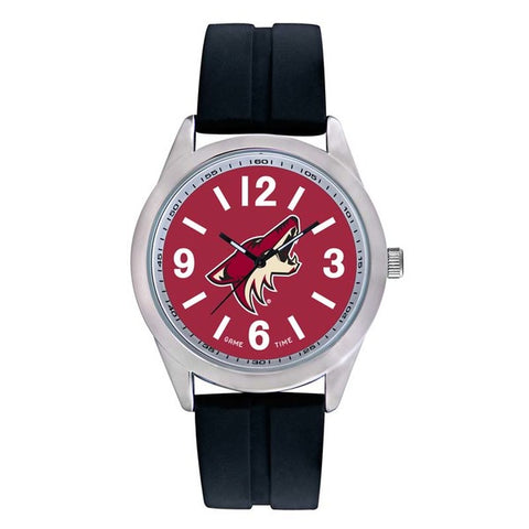 Arizona Coyotes Mens Quartz Analog Silver Round Case Black Strap 46.5Mm Varsity