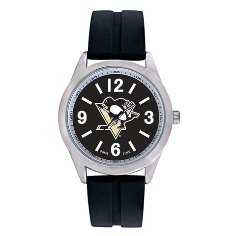 Pittsburgh Penguins Mens Quartz Analog Silver Round Case Black Strap 46.5Mm Varsity
