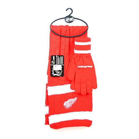 Detroit Red Wings - Limited Edition Heavy Knit Glove & Scarf Gift Set