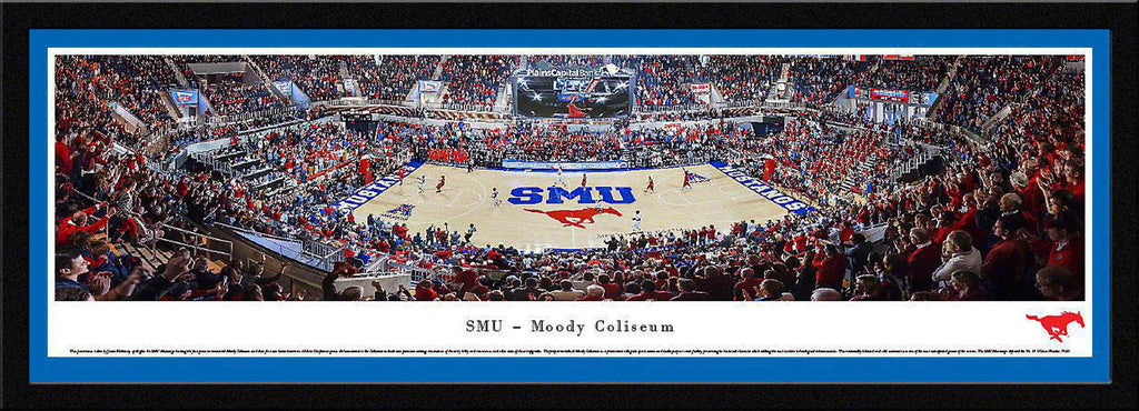 "SMU Mustangs Basketball Single Mat, Select Framed Panoramic Print 15.5"" L x 42"" W"