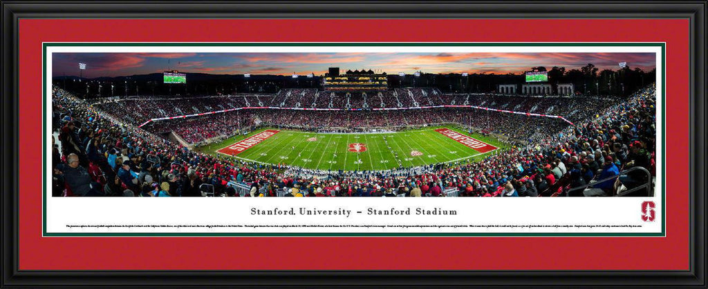 "Stanford Cardinal Football 50 Yard Line Double Mat, Deluxe Framed Panoramic Print 18"" L x 44"" W"