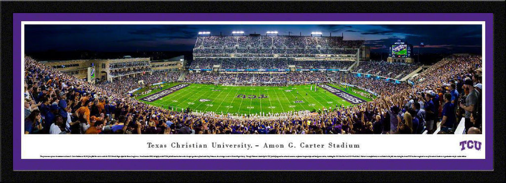 "TCU Horned Frogs Football 50 Yard at Night Single Mat, Select Framed Panoramic Print 15.5"" L x 42"" W"