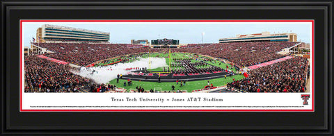 "Texas Tech Football Double Mat, Deluxe Framed Panoramic Print 18"" L x 44"" W"
