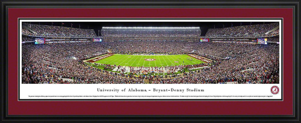 "Alabama Crimson Tide Football Double Mat, Deluxe Framed Panoramic Print 18"" L x 44"" W"