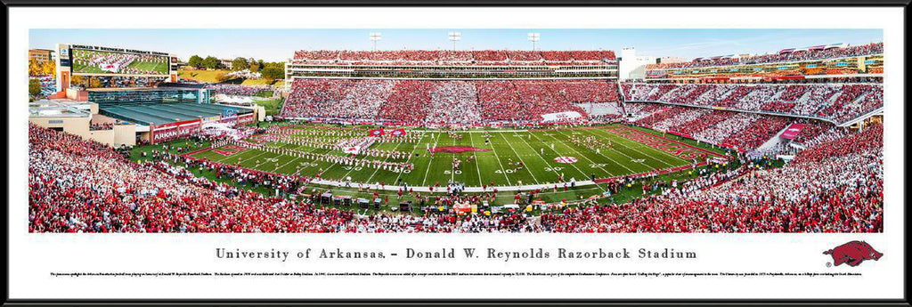 "Arkansas Razorback Football Stripe Standard Framed Panoramic Print 13.75"" L x 40.25"" W"