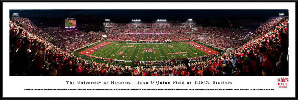 "Houston Cougars Football Night Game Standard Framed Panoramic Print 13.75"" L x 40.25"" W"