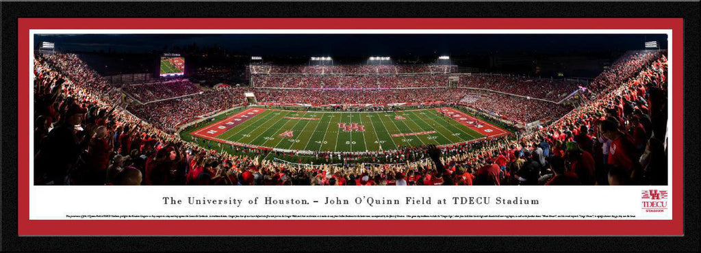 "Houston Cougars Football Night Game Single Mat, Select Framed Panoramic Print 15.5"" L x 42"" W"
