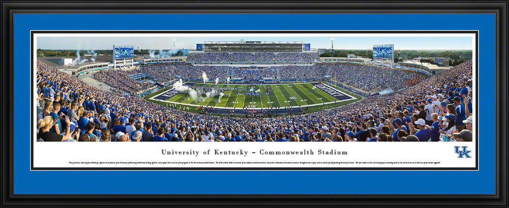 "Kentucky Wildcats Football Double Mat, Deluxe Framed Panoramic Print 18"" L x 44"" W"