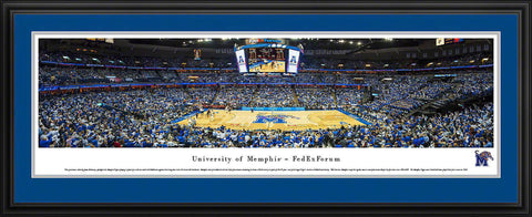 "Memphis Tigers Basketball Double Mat, Deluxe Framed Panoramic Print 18"" L x 44"" W"