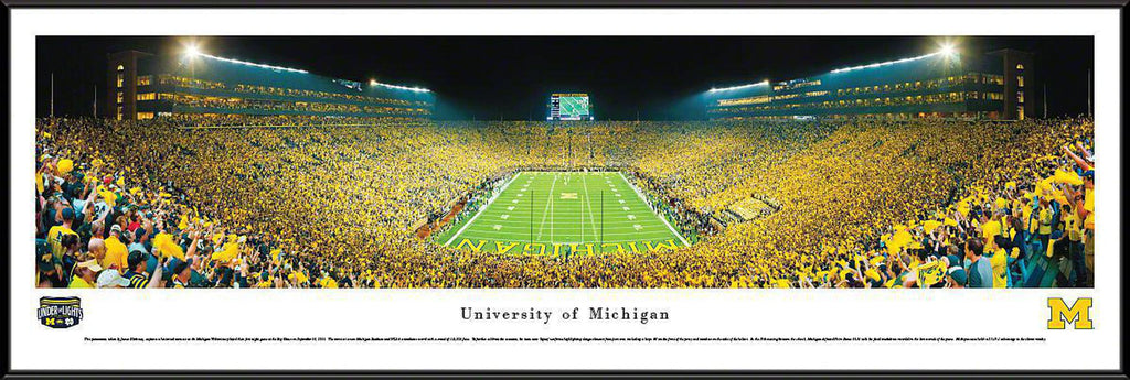 "Michigan Wolverines Football Under The Lights Standard Framed Panoramic Print 13.75"" L x 40.25"" W"