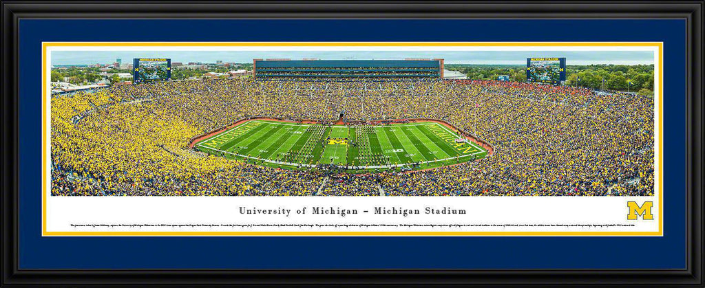 "Michigan Wolverines Football Double Mat, Deluxe Framed Panoramic Print 18"" L x 44"" W"