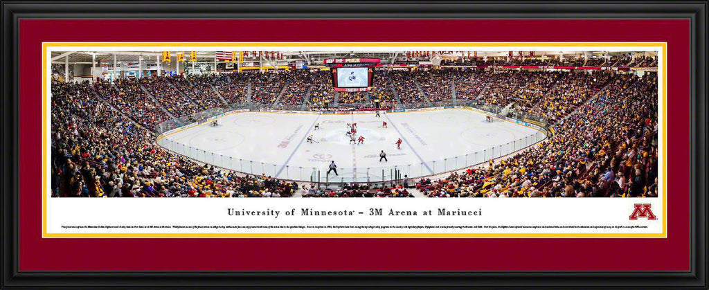 "Minnesota Gopher Hockey Double Mat, Deluxe Framed Panoramic Print 18"" L x 44"" W"
