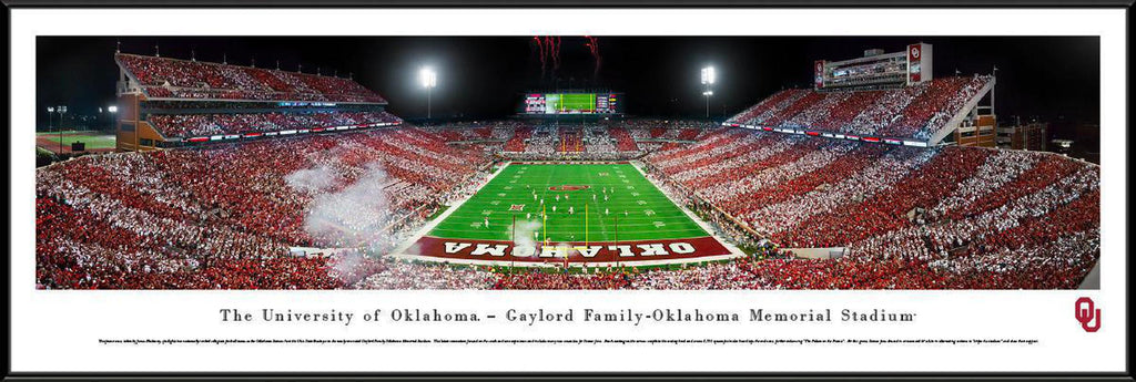 "Oklahoma Sooners Football End Zone Stripe Standard Framed Panoramic Print 13.75"" L x 40.25"" W"