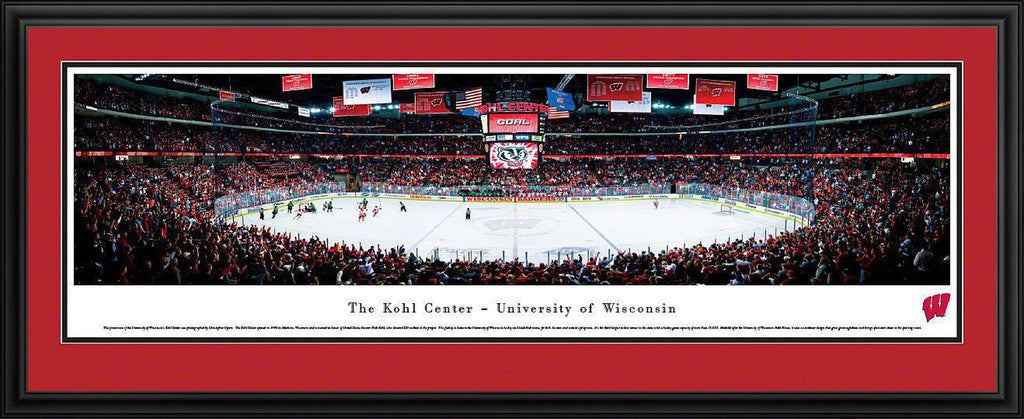 "Wisconsin Badger Hockey Double Mat, Deluxe Framed Panoramic Print 18"" L x 44"" W"