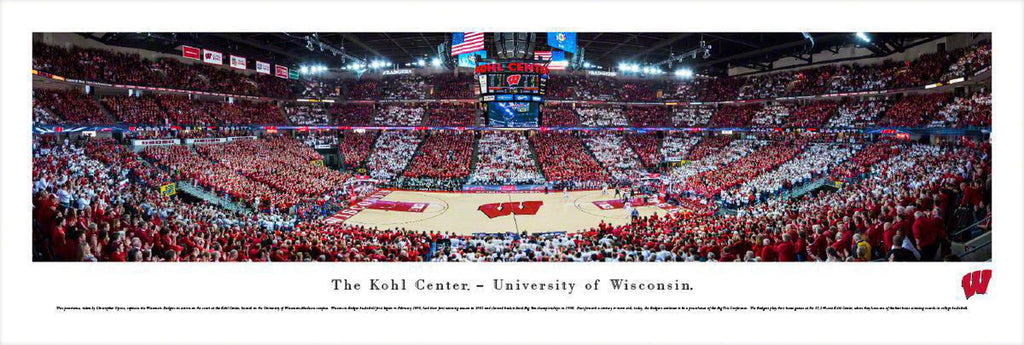 "Wisconsin Badger Basketball Unframed Panoramic Poster 13.5"" L x 40"" W"