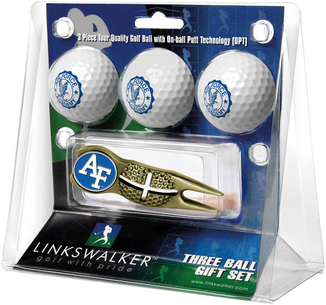 Air Force Falcons Gold Crosshair Divot Tool 3 Ball Gift Pack  -  Gold